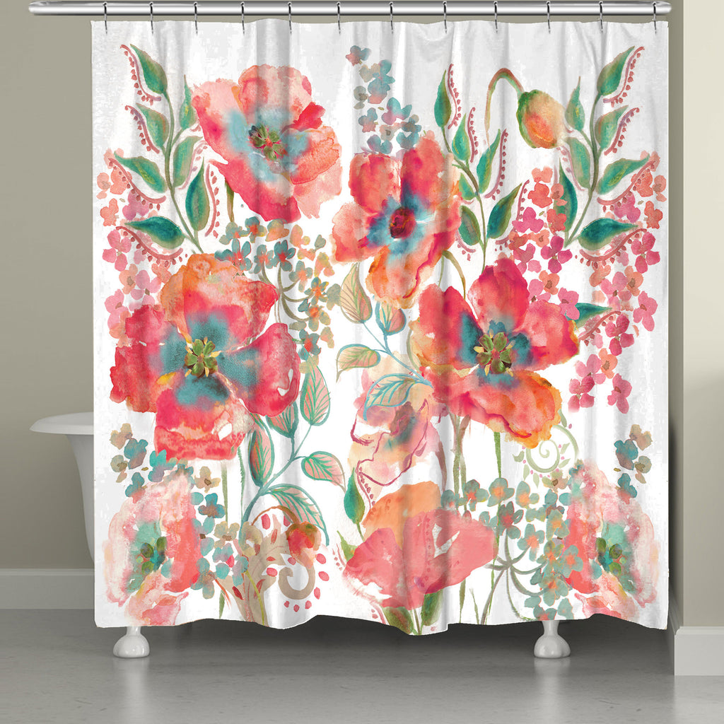 Attractive Bohemian Poppies Shower Curtain
