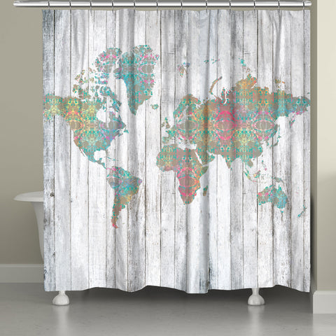 Boho Map Shower Curtain
