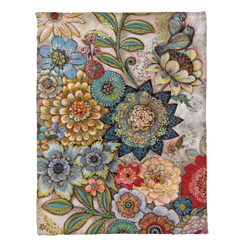 Boho Bouquet Fleece Throw
