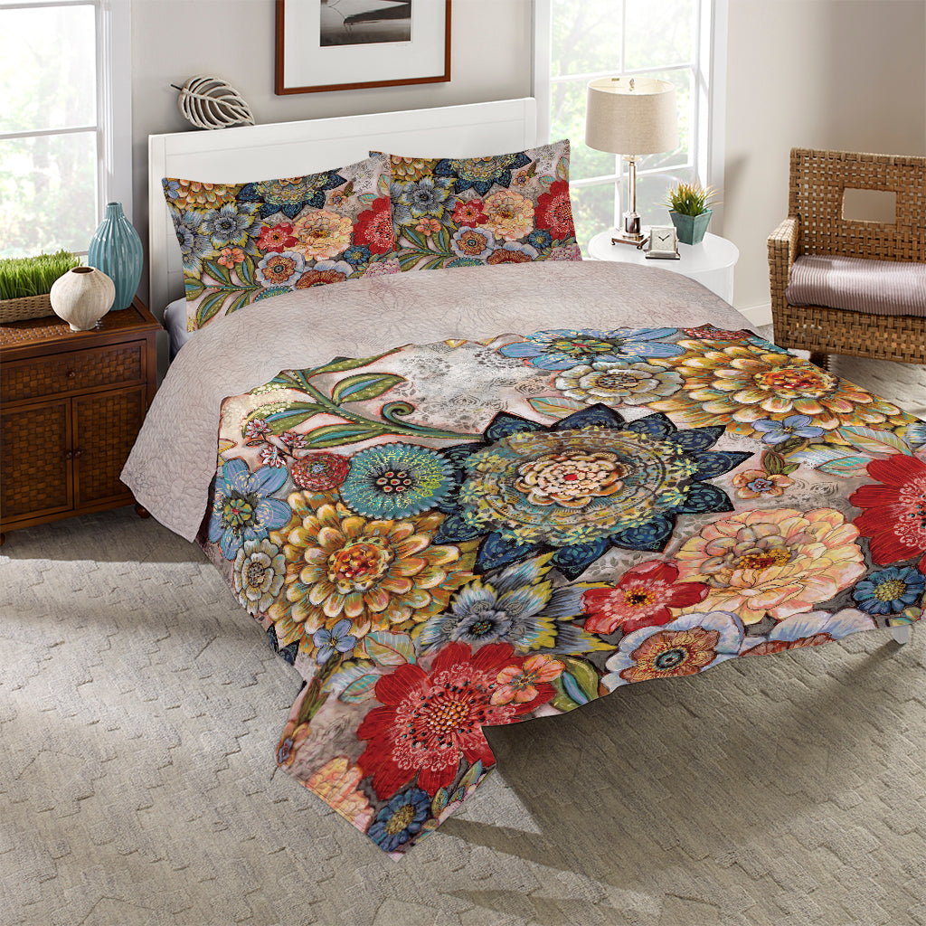 Boho Bouquet Reversible Quilt Set