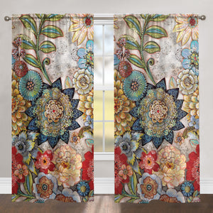 Boho Bouquet Room Darkening Window Panel