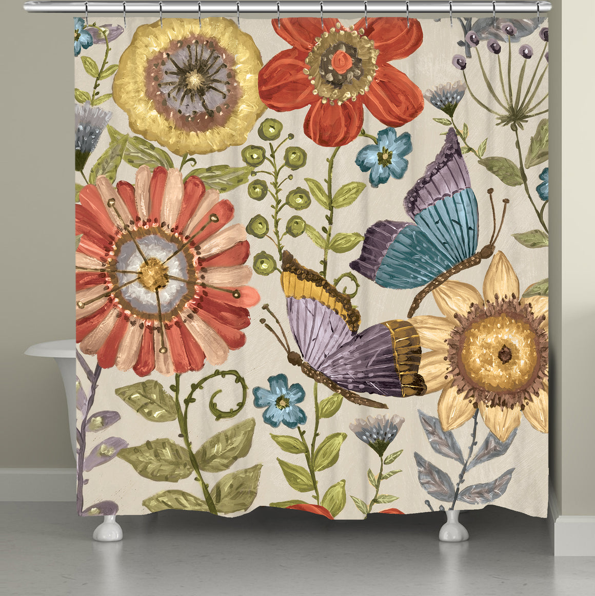 Boho Butterfly Garden Shower Curtain