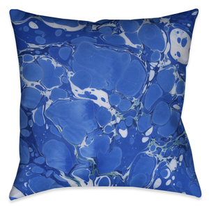 Ocean Blue I Marble Outdoor Decorative Pillow
