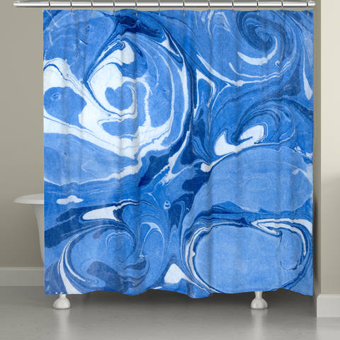 Ocean Blue Marble Shower Curtain