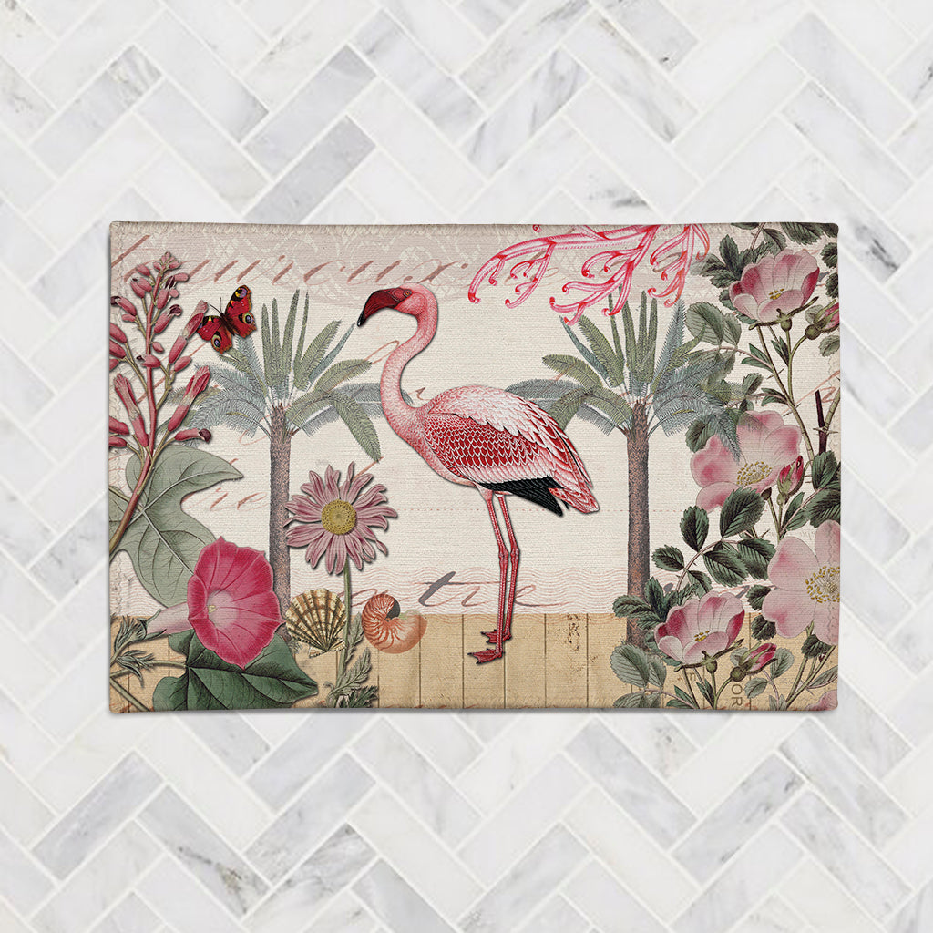 Botanical Flamingo Accent Rug