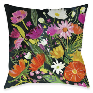 Bright Blossoming Black Florals Outdoor Decorative Pillow