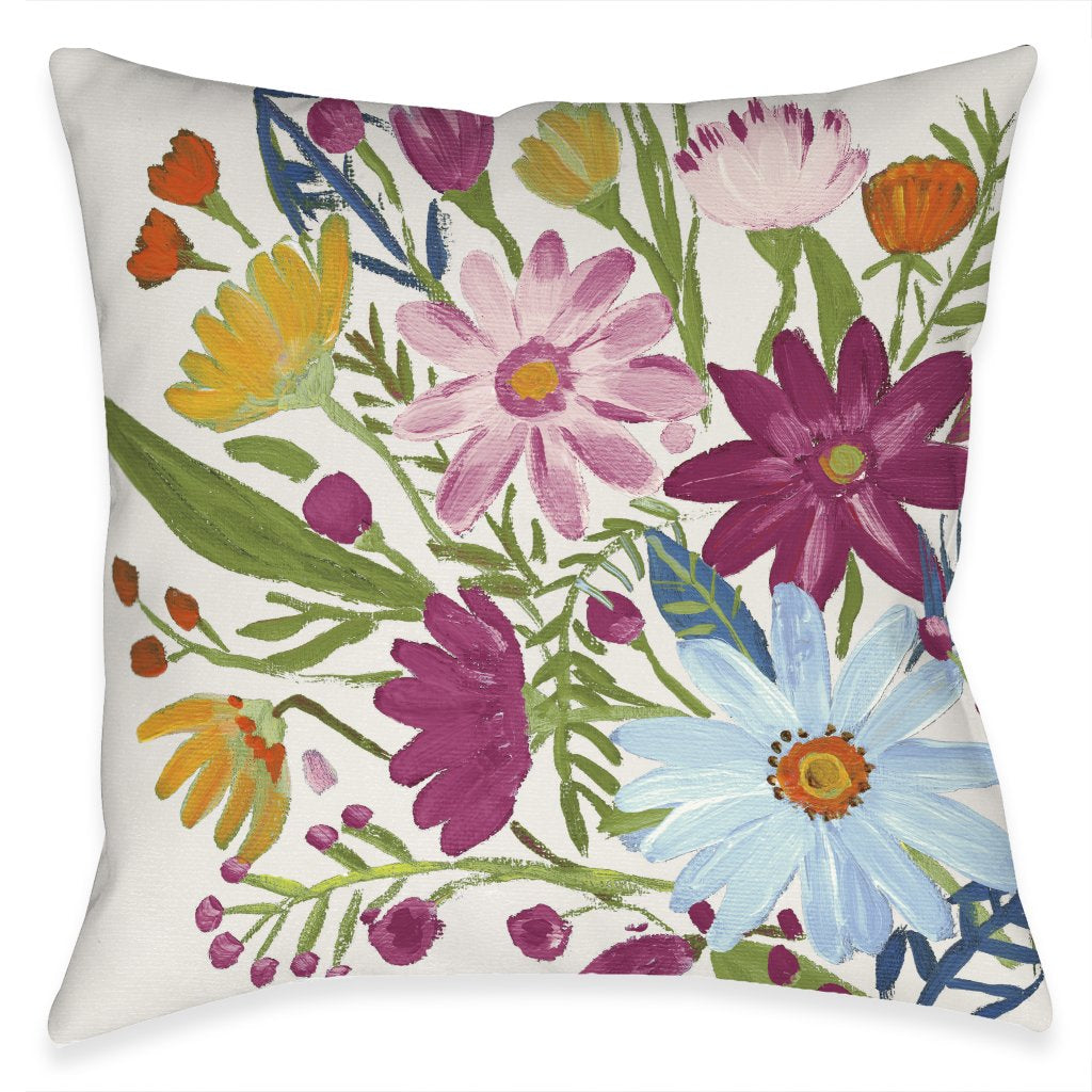 Bright Blossoming Daisy Outdoor Decorative Pillow