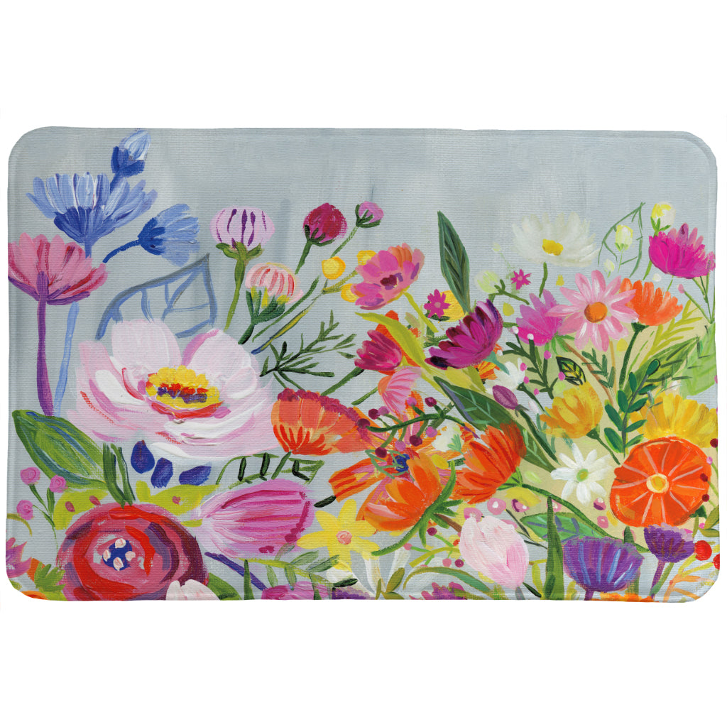 Bright Blossoming Florals Memory Foam Rug