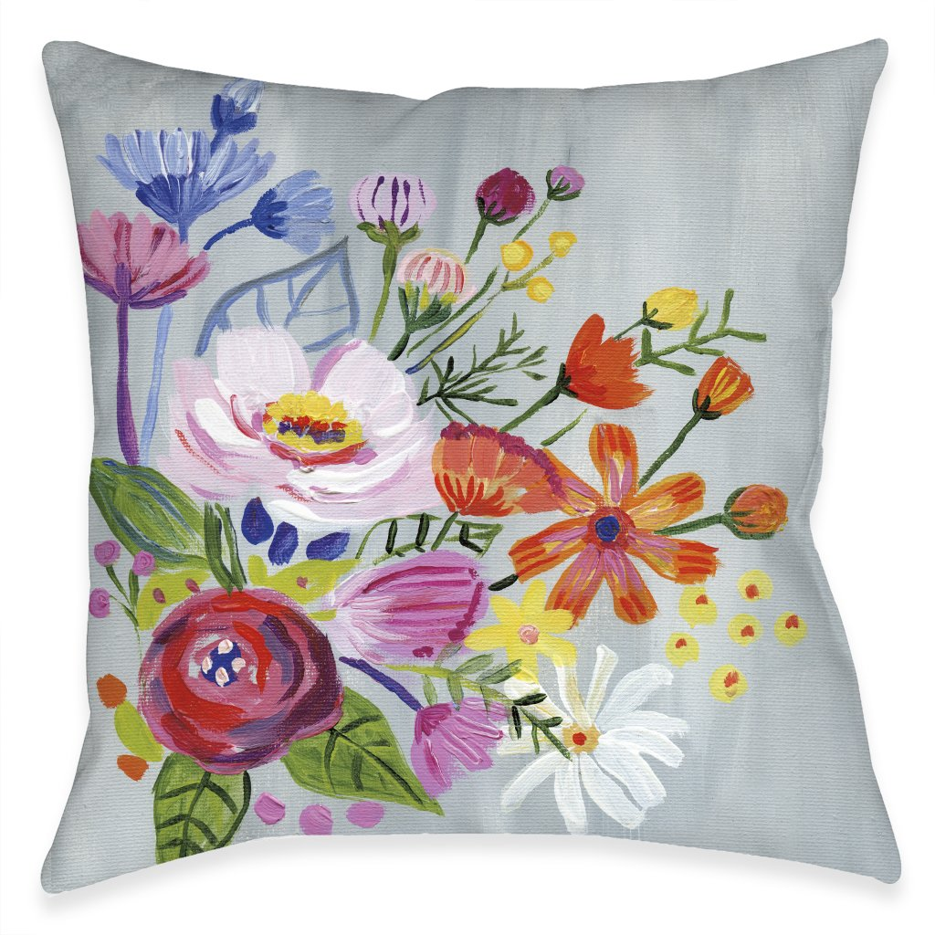Bright Blossoming Florals Outdoor Decorative Pillow