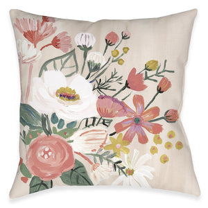 Bright Blossoming Pink Florals Outdoor Decorative Pillow