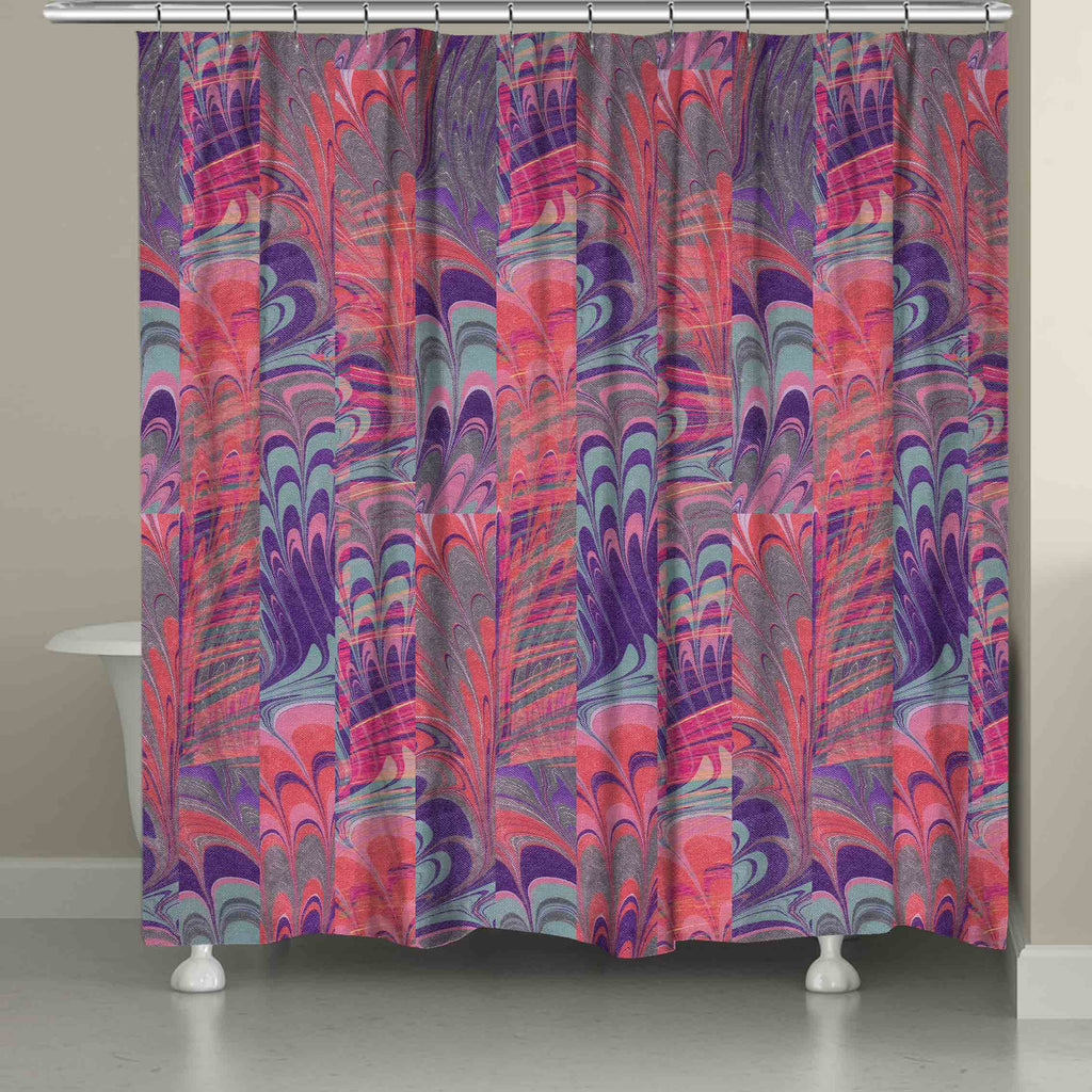 Pink and Purple Marble Shower Curtain