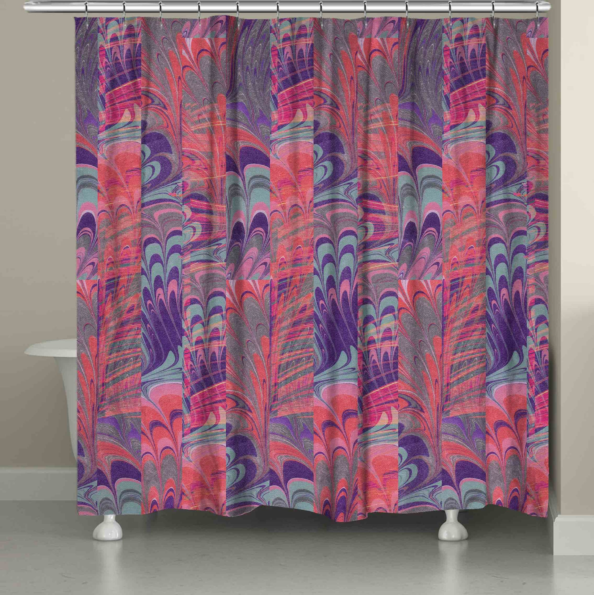 Pink And Purple Marble Shower Curtain Laural Home