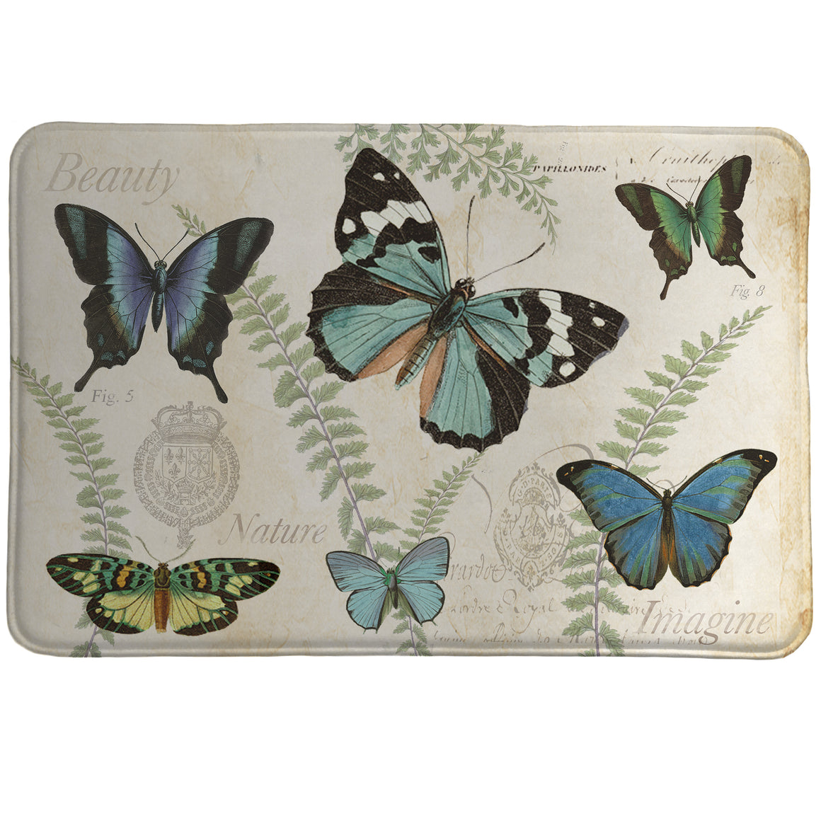 Flutters and Ferns is decorated with a flurry of blue-winged butterflies, on a background accented with greenery.