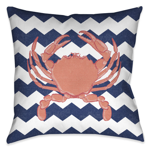 Crab Chevron Outdoor Decorative Pillow