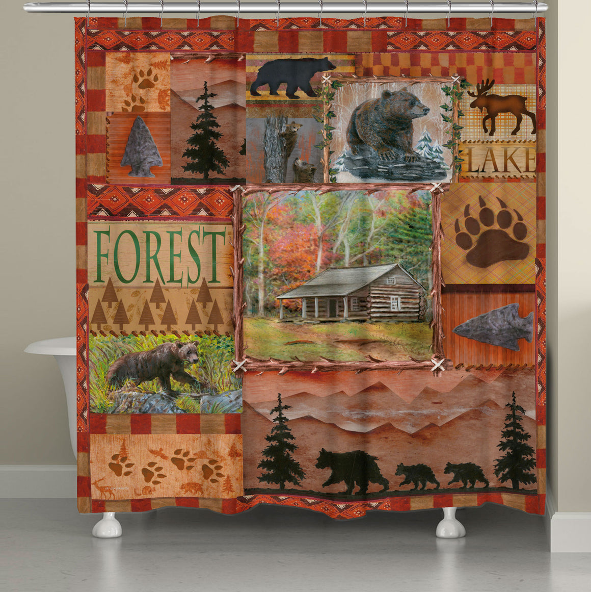 Cabin Collage Shower Curtain