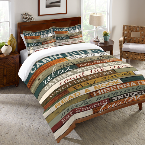 Cabin Rules Duvet Cover