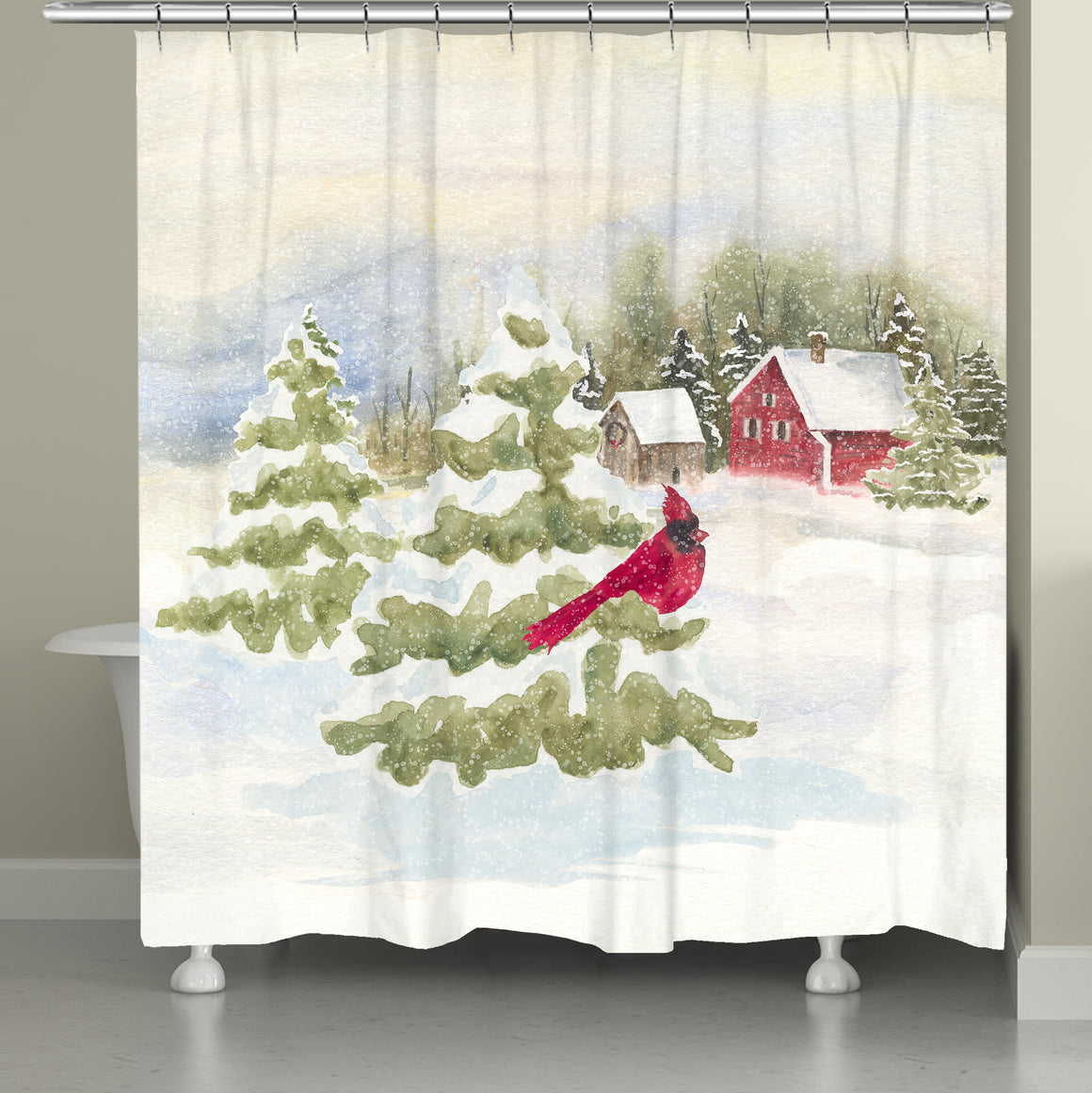 Cardinal Winter Shower Curtain