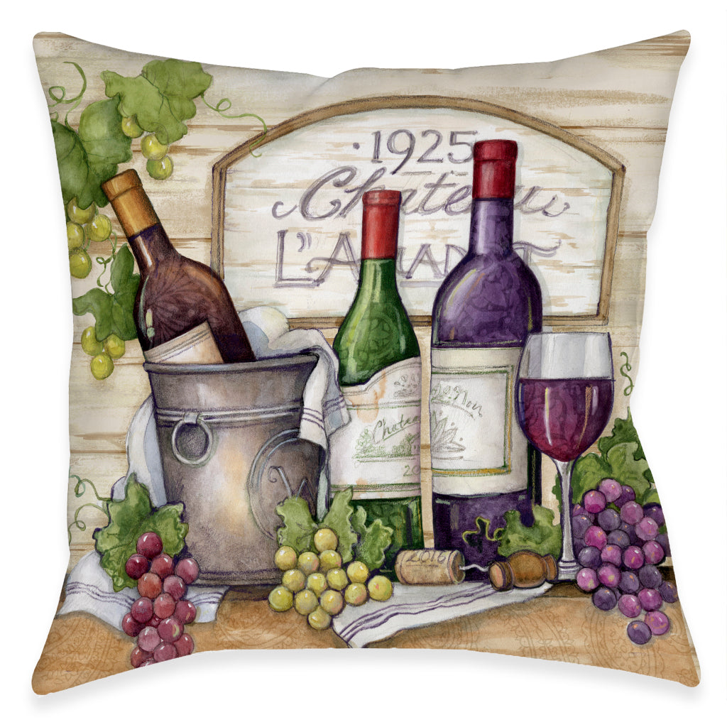 Chateau Wine Getaway Outdoor Decorative Pillow