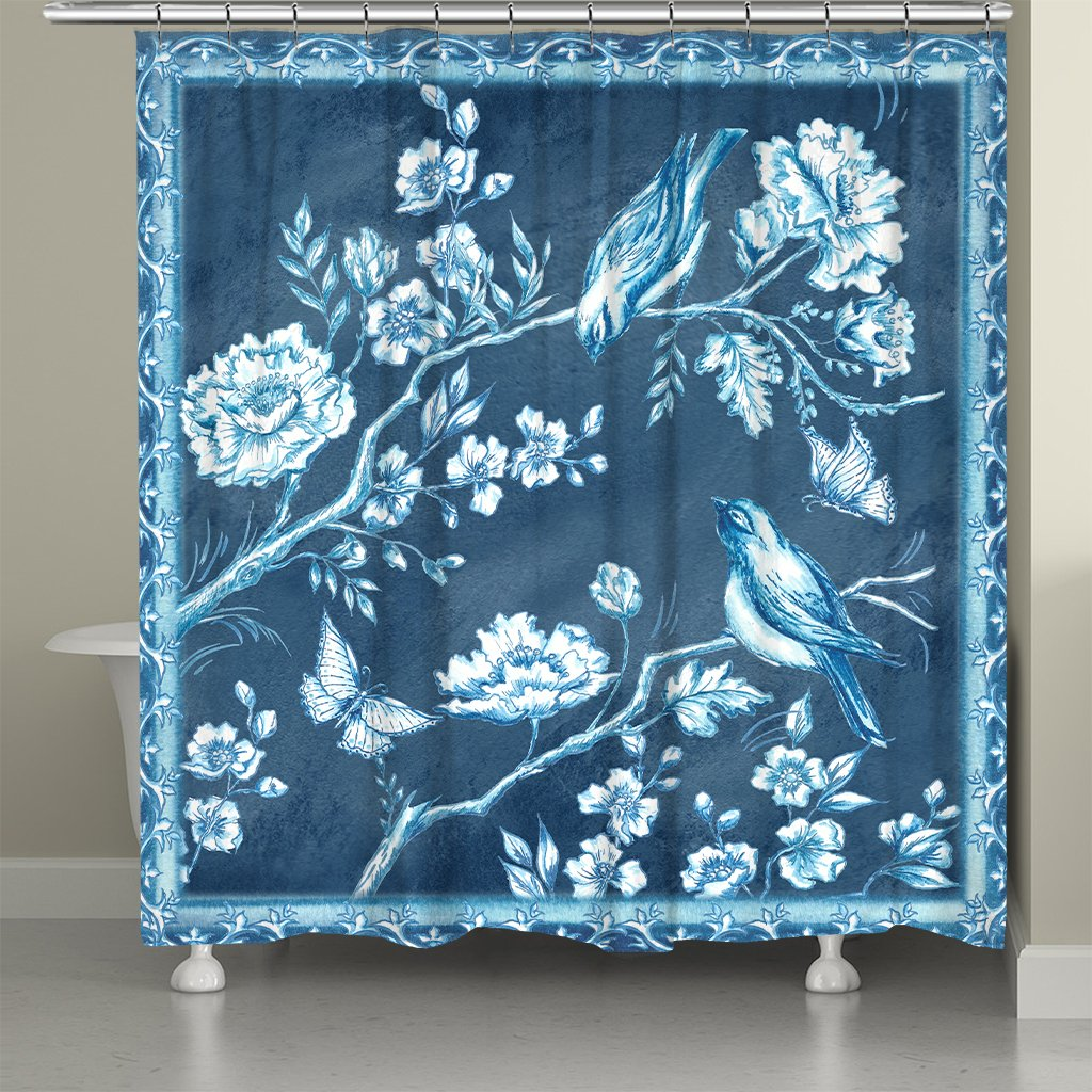 Chinoiserie Birds Shower Curtain