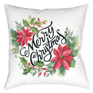 Christmas Poinsettias Indoor Decorative Pillow