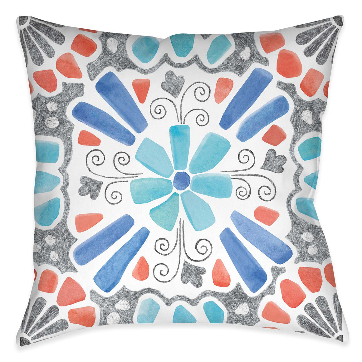 "The ""Coastal Mosaic III Outdoor Decorative Pillow"" features a modern must-have mosaic design. The eclectic balance of coral, aqua and grey colors exposes its artistic rendering giving it a unique flare inspired by traditional mosaic tile designs."