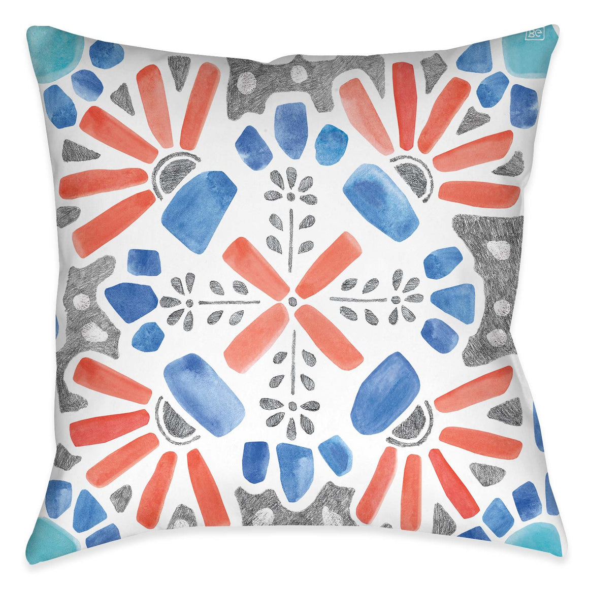 "The ""Coastal Mosaic I Outdoor Decorative Pillow"" features a modern must-have mosaic design. The eclectic balance of coral, aqua and grey colors exposes its artistic rendering giving it a unique flare inspired by traditional mosaic tile designs."