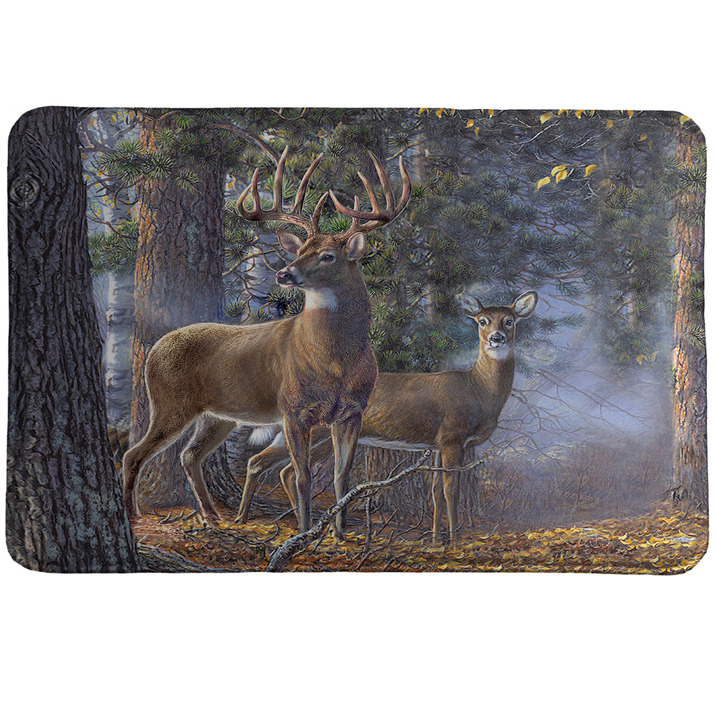 Cold Snap Memory Foam Rug features a photorealistic buck and doe standing side by side in a peaceful forest setting.