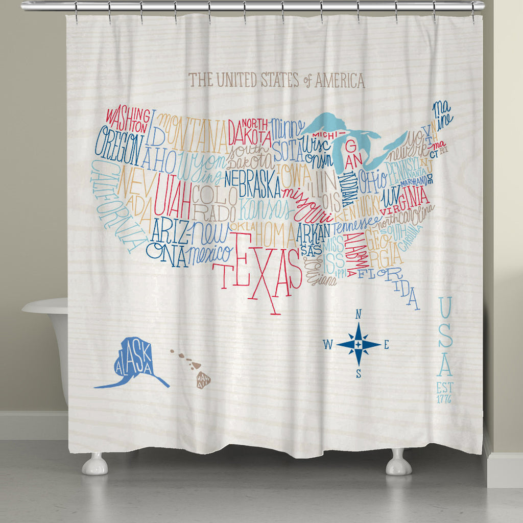 Hand Lettered US Color Map Shower Curtain Laural Home