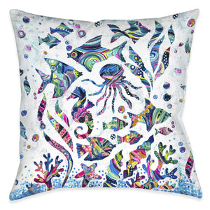 Colorful Coastal Outdoor Decorative Pillow