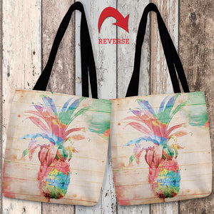 Colorful Pineapple Canvas Tote Bag