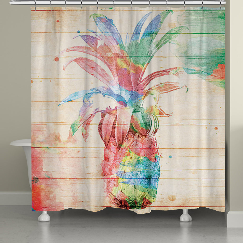 colorful pineapple shower curtain - Colorful Shower Curtains