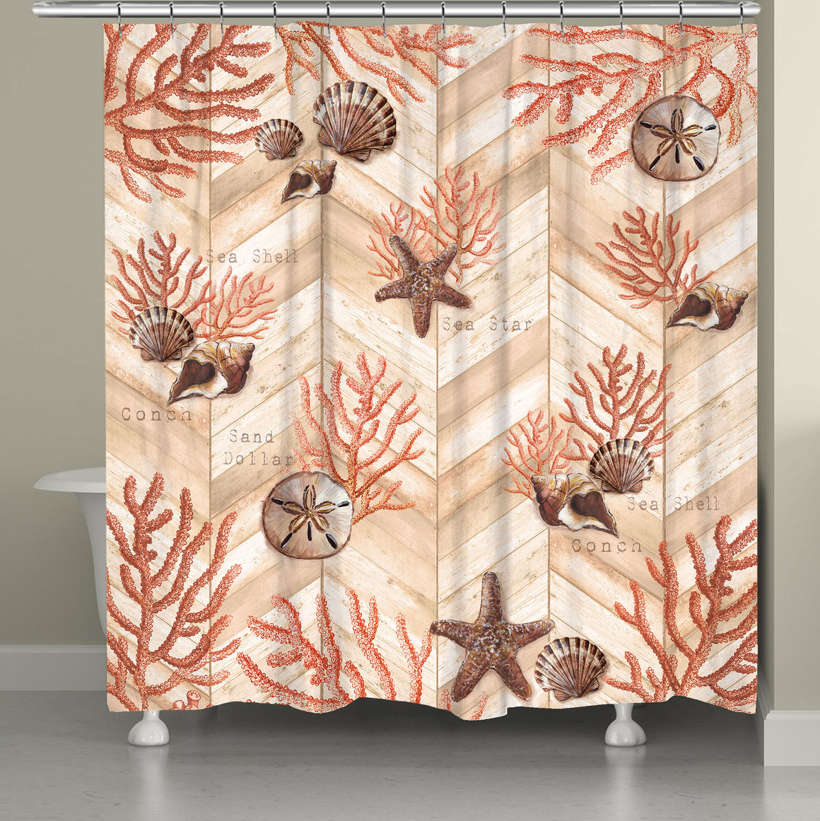 Coral Chevron Shower Curtain