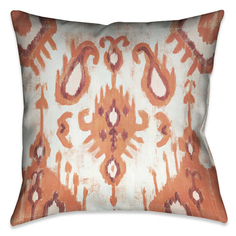Coral Ikat I Outdoor Decorative Pillow
