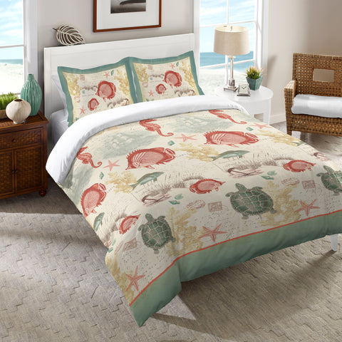Coral Seaside Postcard Comforter