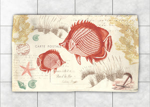 Coral Seaside Postcard Accent Rug