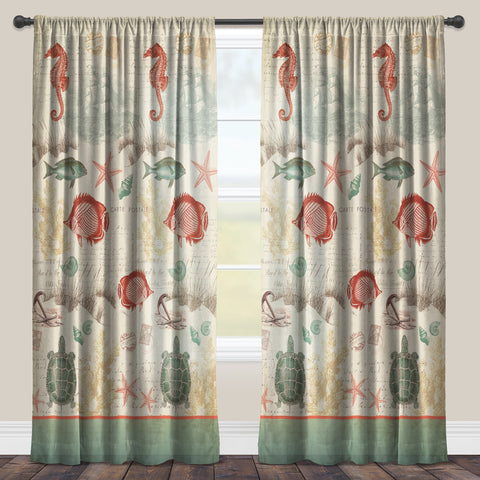 Coral Seaside Postcard Sheer Window Panel