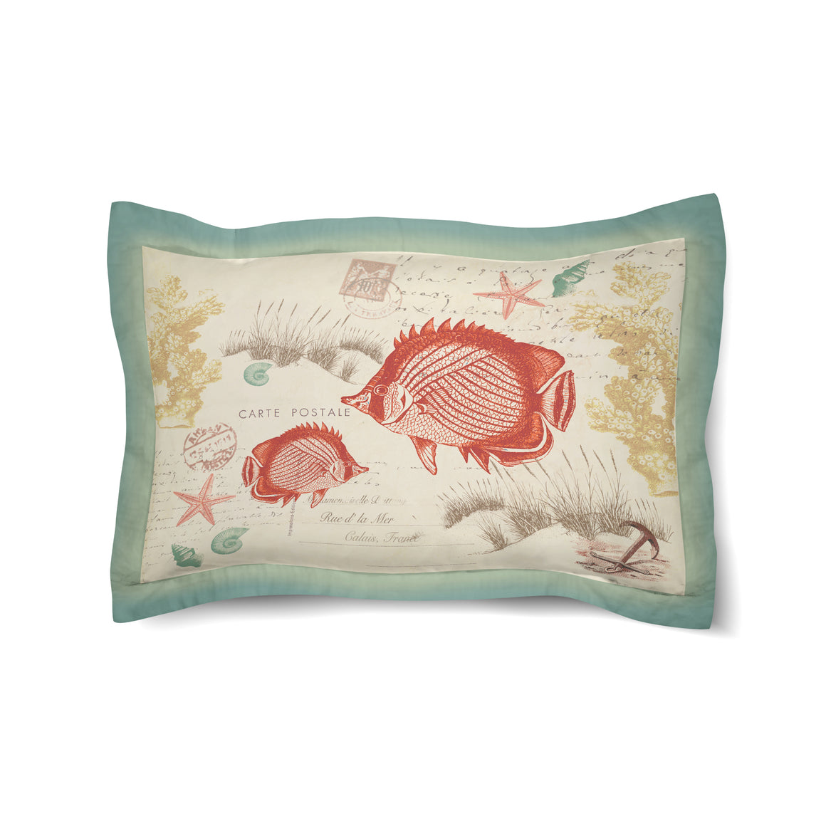 Coral Seaside Postcard Duvet Sham
