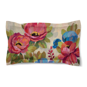 Coral and Blue Flowers Duvet Sham