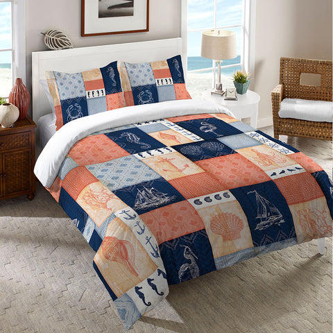 Coral and Navy Coastal Duvet Cover