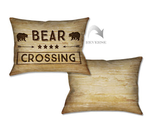 Country Cabin Bear Crossing Indoor Decorative Pillow