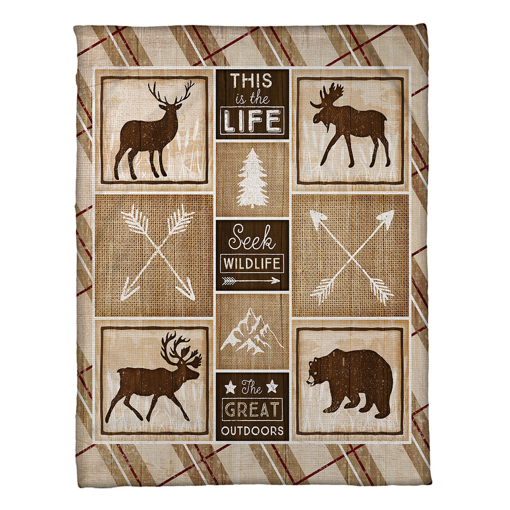 Country Cabin Fleece Throw - Fleece Throw - Sagebrush - Laural Home