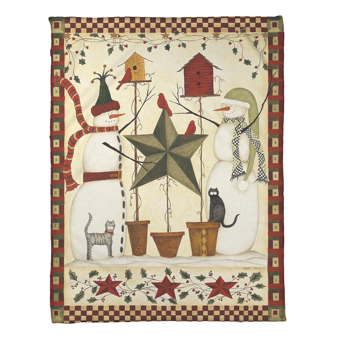 Country Snowmen Fleece Throw - Fleece Throw - Sagebrush - Laural Home