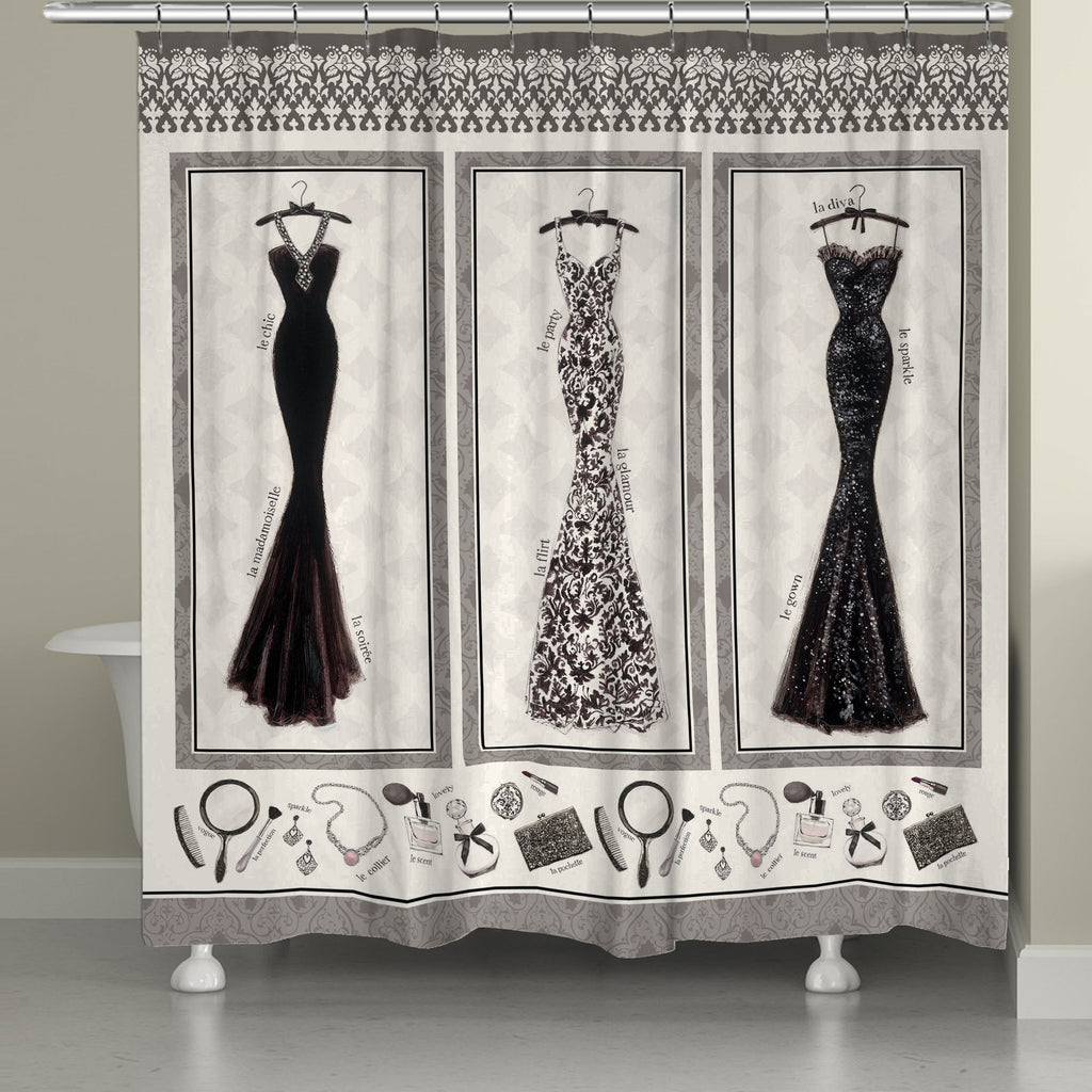 Couture Charcoal Shower Curtain