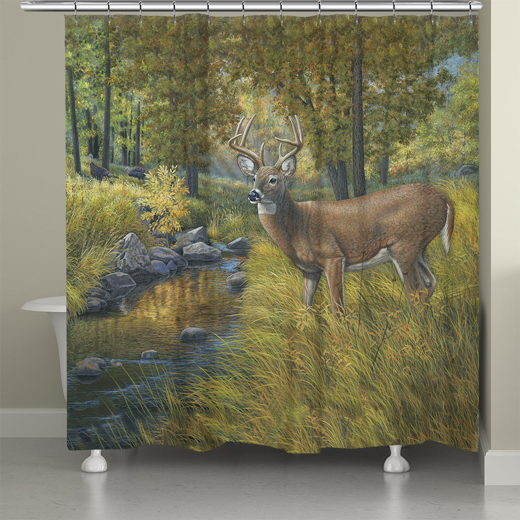 Creekside Deer Retreat Shower Curtain