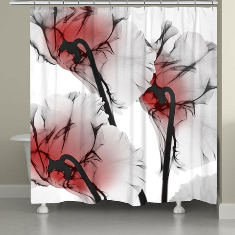 Crimson Cyclamen X-Ray Flowers Shower Curtain