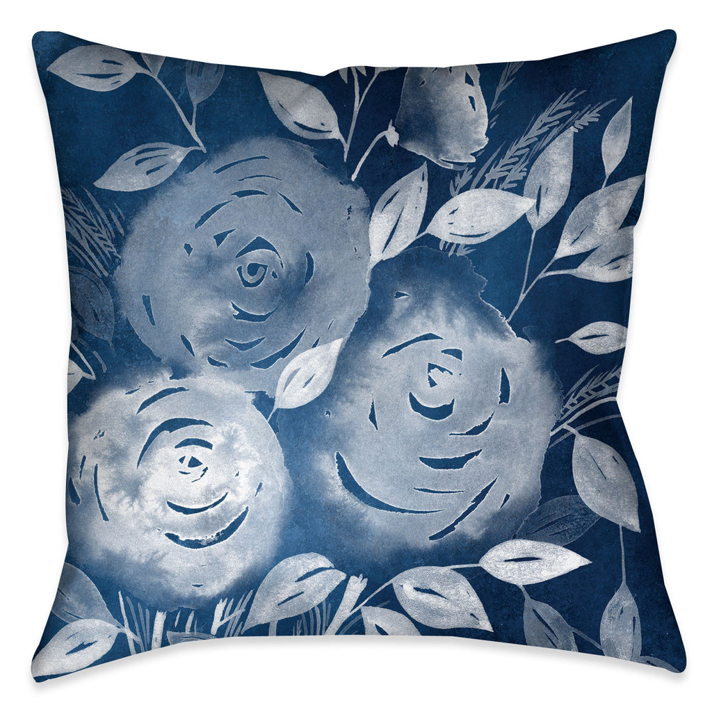 The beautiful display of roses in this indoor decorative pillow expose a pop of contrast against the vibrant indigo-cyanotype ground.