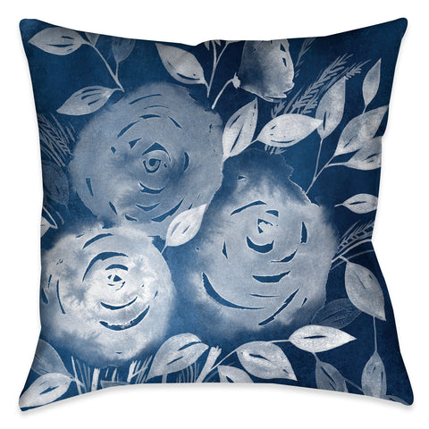 Cyanotype Roses Outdoor Decorative Pillow