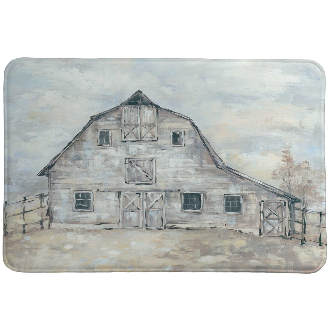 This Vintage Barn memory foam accent rug features a beautiful rustic barn, with a lovely color story of subdued blues and gray colors. This piece will induce feelings of simpler times, perfect for your decor that calls for this charming look.
