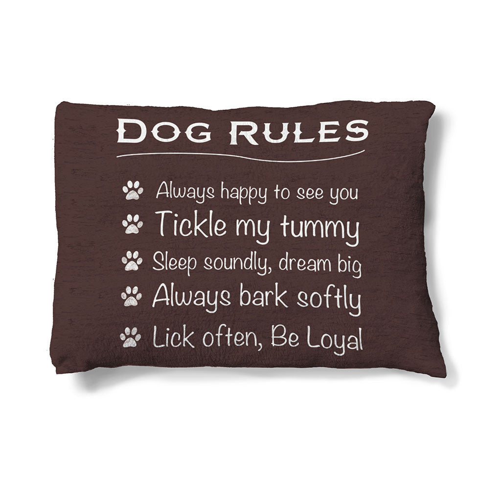 "Dog Rules 30"" x 40"" Fleece Dog Bed features the perfect dog mantra set on a rich brown background."