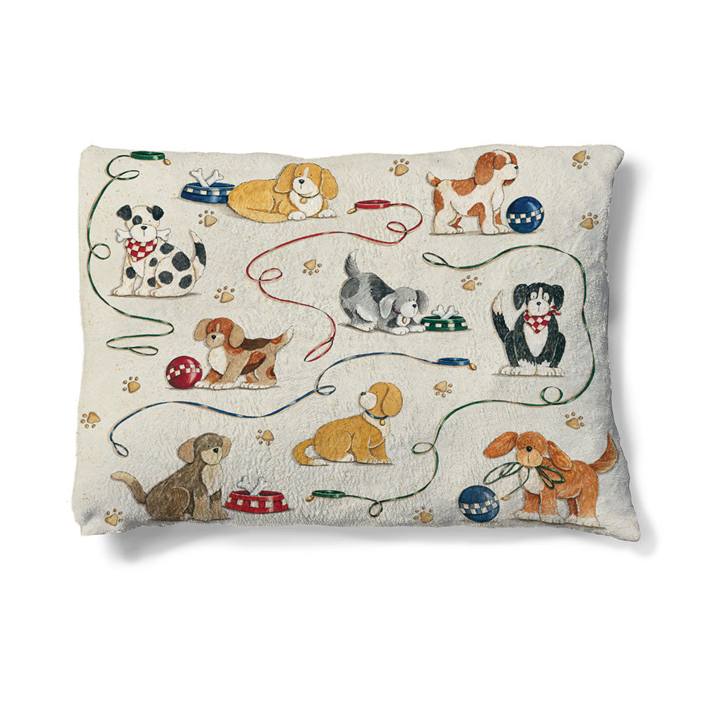 "Dogs at Play 30"" x 40"" Fleece Dog Bed features multiple dogs playing with toys."